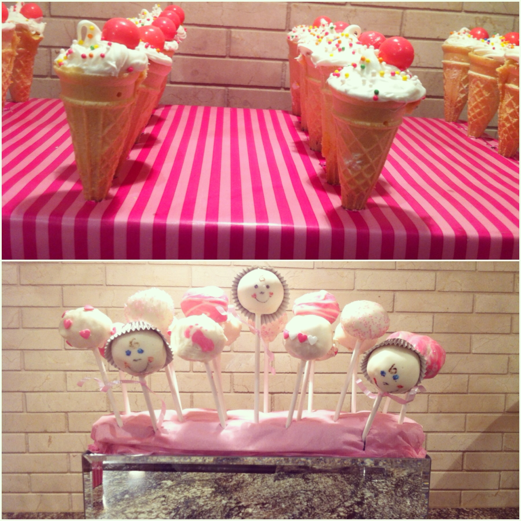 Mini Ice-Cream Cone Cupcakes & Cake-Pops (Baby Shower Edition)